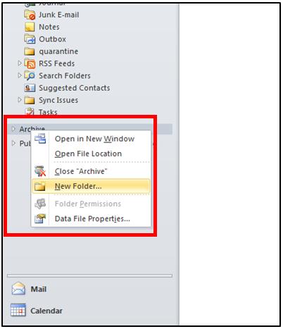 Right click to create new folder