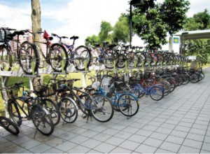 Double deck bicycle parking at Pasir Ris MRT station