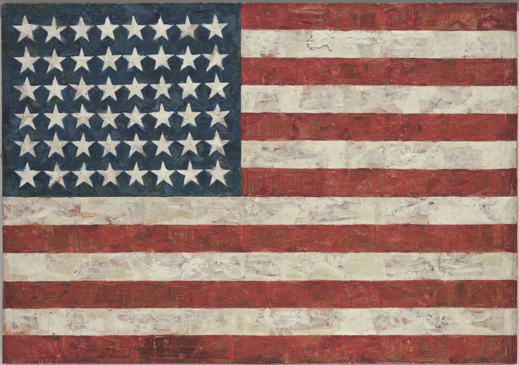 "<p>Johns, Jasper. Flag, 1955. Encaustic, oil, and collage on fabric mounted on plywood, 107.3 cm x 153.8 cm. New York, Museum of Modern Art.</p> <p>"" /></p> </div> <div class="