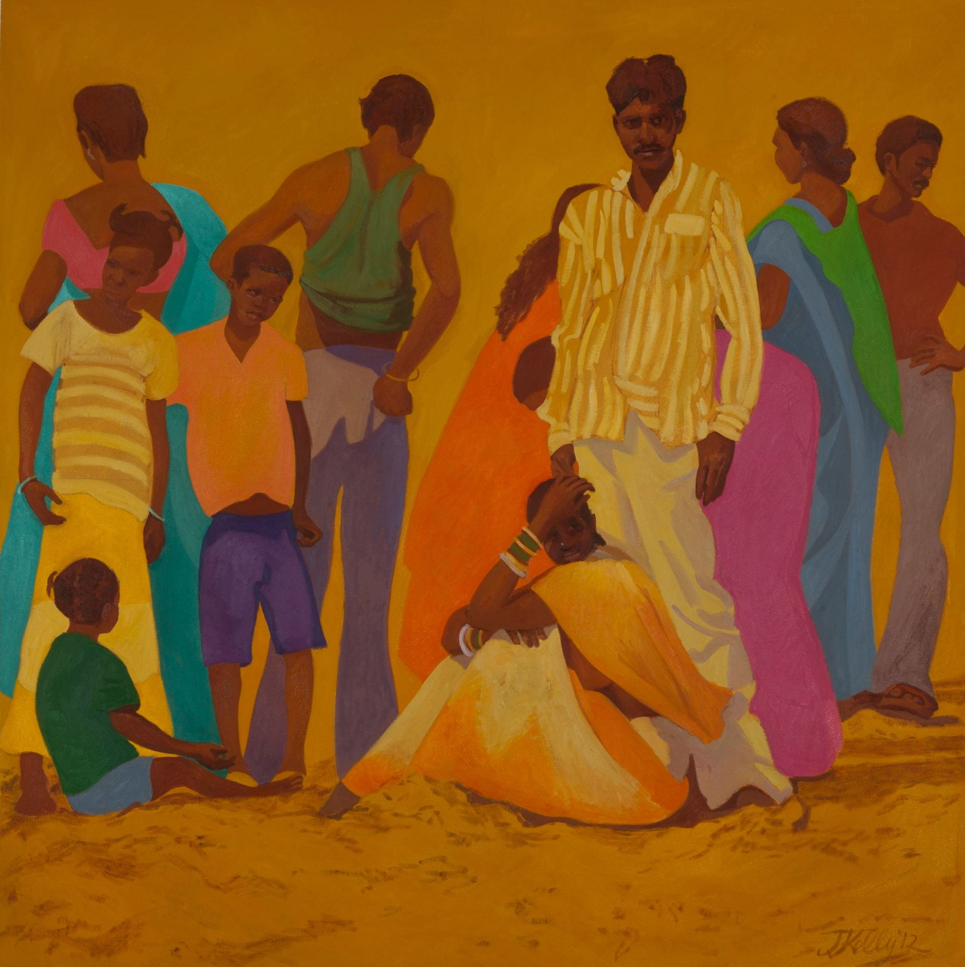 Meeting at Puri Beach. Oil on canvas 158cm x 158cm