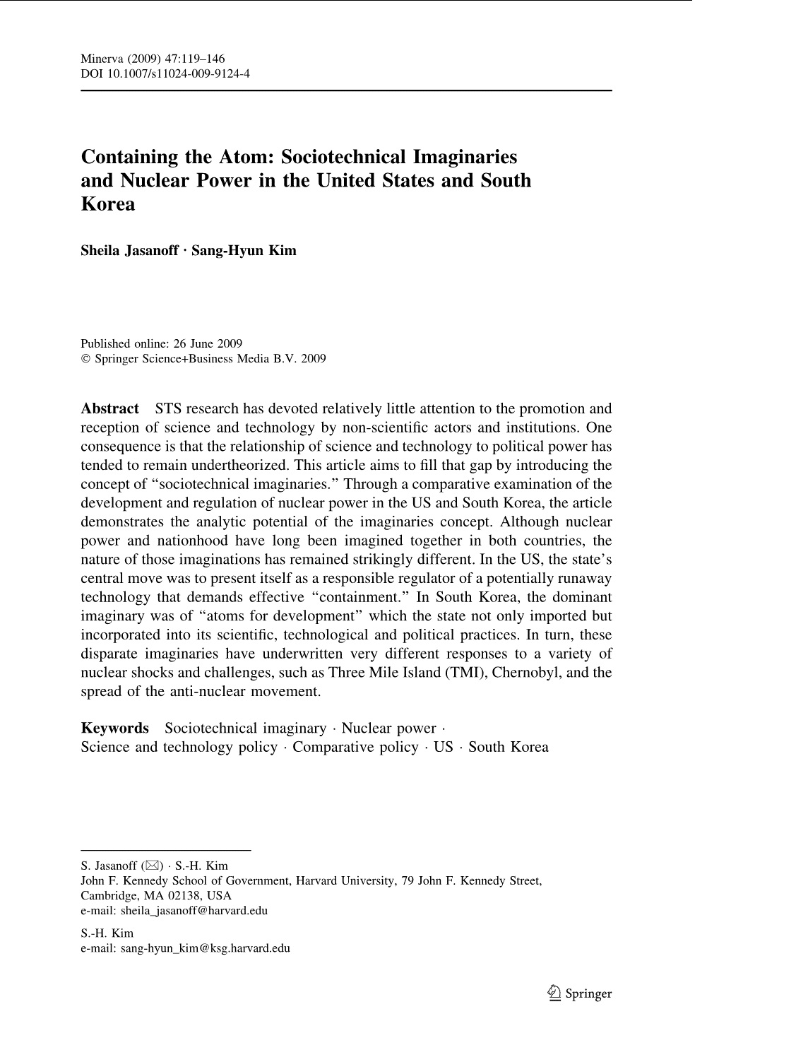 ARTICLE: Containing the Atom: Sociotechnical Imaginaries and Nuclear Power in the United States and South Korea (2009)