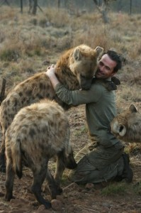 Richardson being hugged by hyenas. Image from: http://www.pinterest.com/pin/495466396475119676/
