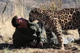Richardson kissing a leopard. Image source