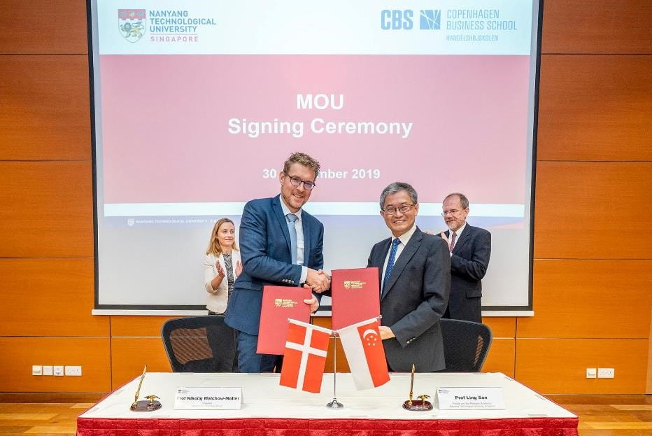 The partnership for the double major degree programme was inked by the NTU Provost and Vice President (Academic) Prof Ling San and Copenhagen Business School President Nikolaj Malchow-Møller