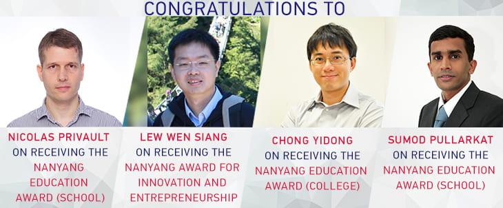 SPMS congratulates the 2019 Nanyang Award winners