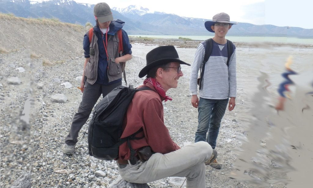 Prof Kerry Sieh in the field with students.