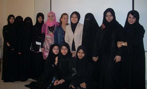 Dr Intan with her students at ADU