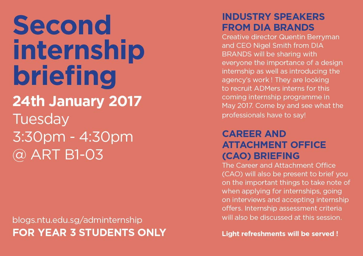 adm internship blog a second internship briefing session was held on 24th 2017 for those who have missed the first round of briefings industry speakers from dia brands