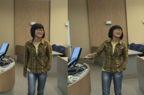 Rita getting animated about sharing what life is like at 49B Nanyang Valley