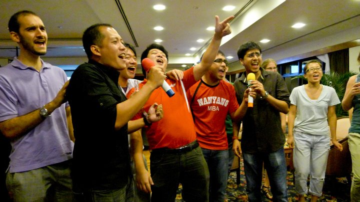 The men of Nanyang MBA dominated the singing