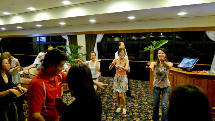 The ladies showing us how to dance the almost forgotten – Macarena dance.