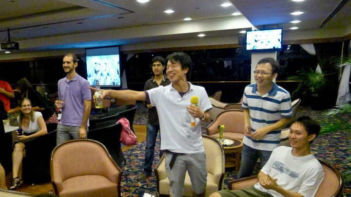 Harutaka-san (holding the microphone) belted out Lady Gaga songs