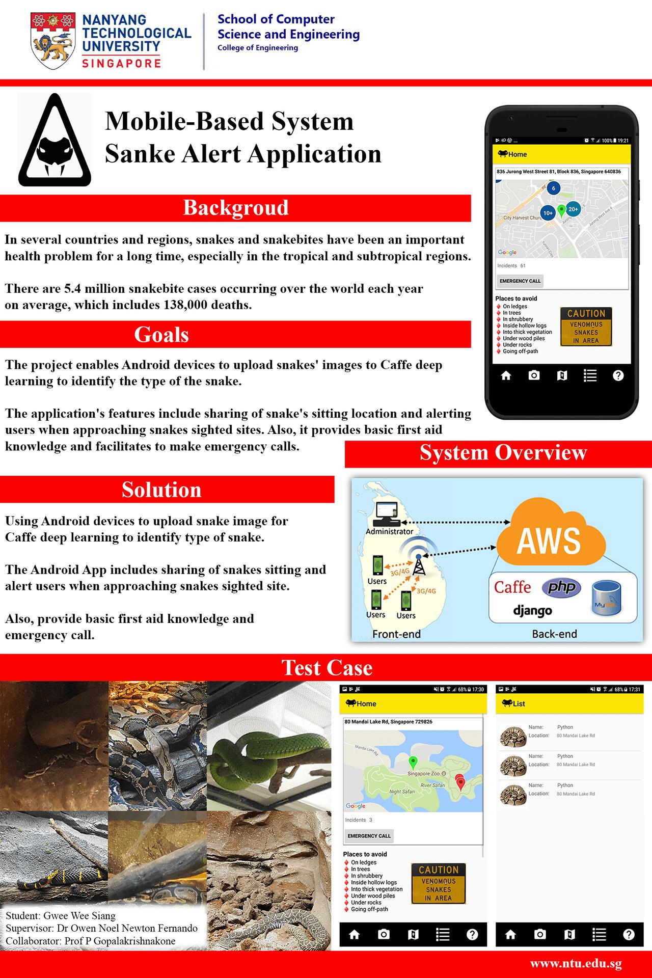 Mobile-based system: Snake alert application