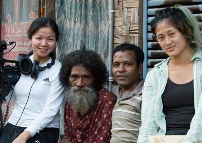 A photograph taken after an interview about the legend of Mon Mot. From left, Dang Mai Trang, Darius Delpada, Benitiktus Delpada, and Rachel Siao.