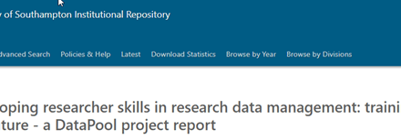 Developing researcher skills in research data management : a DataPool project report