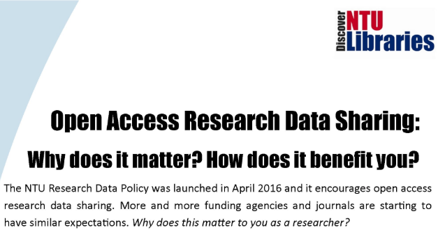 Open Access Research Data Sharing: Why does it matter? How does it benefit you?