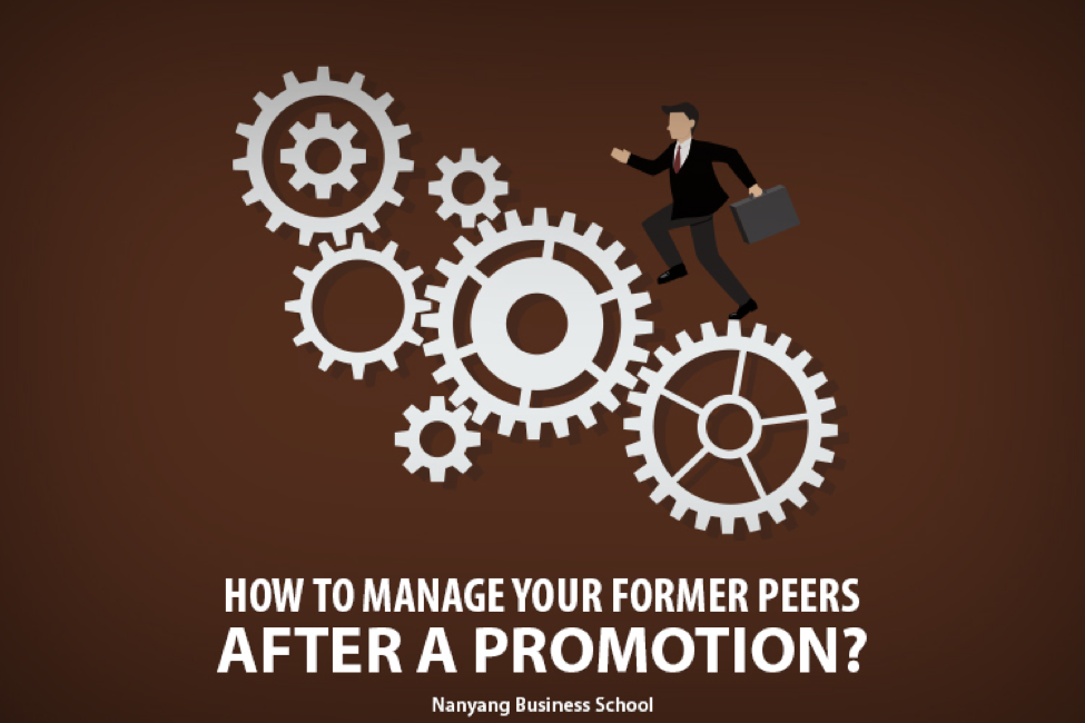 Being promoted to a new leadership role is a definitely a good reason to celebrate. But it is also a transition that requires adapting to a new behaviour along with other changes, especially with your former peers. It is possible that a former peer may resent you for getting the promotion that he or she wanted so badly. It is also likely that these colleagues will feel some amount of frustration and animosity as they report to you. So how do you deal with the situation without stressing yourself out?  Here are some tips. •	Monitor your behaviour: It's never too early to establish credibility with your colleagues at every corporate level, including your immediate peers. That will save you lots of trouble later on because people will know what to expect from you in terms of planning, decision-making, and communication. So rather than attempting a rapid change, focus on building a character of integrity and authenticity as soon as possible. Be consistent with your work ethics and management style. For instance, don't believe that your ex-peers will ever forget a habit of long coffee breaks or nasty gossip sessions.  •	Establish authority carefully: While you certainly need to specify your new role to the peers who will now be reporting to you, be careful about how you convey the information. Your tone of voice, facial expression, and body language shouldn't portray the 'I'm cooler than you now' attitude. Just let them know that things have changed and that they will now be reporting to you. If it is possible, ask your company corporate communications team or a relevant senior to make an official announcement on your behalf. That could make things smoother. •	Redefine relationships with friends: Some people you work with may have become close friends whom you like to spend time with outside office hours too. To handle the delicate situation, have a one-on-one chat with him or her. Be honest about how the relationship will be changing. Talk about your new responsibilities, but let the friend share his or her thoughts on it too. For example, you could ask them what kind of changes they foresee in the way they work now. Make it clear that you are there to provide support and loyalty and hope for reciprocation. Most importantly, mention that you don't believe in giving friends special treatment at work. •	Learn to detach from the old: Earlier, your daily life in the office must have been different. Other people, having regular conversations of a particular nature, and more personal with these peers, surrounded you. In fact, you may have even spoken negatively about your boss whom you will work with more closely after the promotion. Don't be rude. Don't ignore them. Be there for them when they need you, in case of family emergencies or illness or the like, but keep it to important things and waste less time on small talk. It'll be hard but necessary to help you fit into your new role. •	Get to know your new peers: It's time to get better acquainted with your new peer group. Go for a lunch or coffee. Ask intelligent, pertinent questions about the department and projects. If something is completely new to you, like end of year performance reviews, ask about those. Still, keep the tone casual and include light personal conversation too such as favourite sports or hobbies. Fortunately, top business schools recognise the need to highlight these leadership role changes in their curriculum. The Nanyang Fellows MBA offers a course on Transformative Leadership that teaches you to deal with obstacles in leadership roles such as this.  Check out the full list of courses here: http://www.nanyangfellows.com/about-nanyang-fellows/programme-structure/  So look at the big picture and enjoy the transition – it's a learning process!