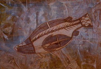 Ancient Aborigine cave art of a fish. (http://archaeologynewsnetwork.blogspot.sg/2011/06/half-of-all-ancient-aboriginal-rock-art.html#.VFtCaxYkD3Q )