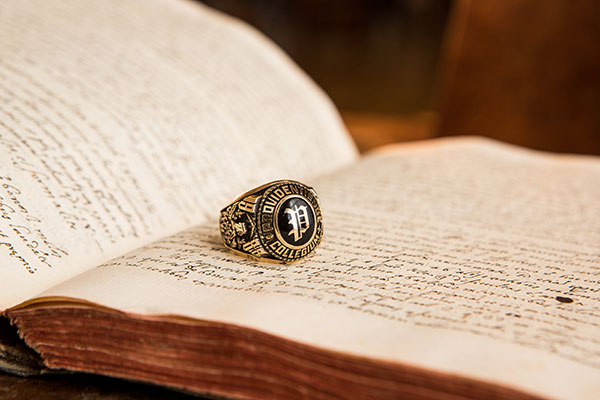 A Providence College 1988 class ring.