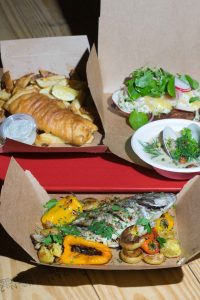 Various meals from The Shack consisting of fish