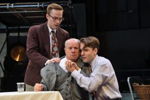 Billy Hutto (left), Stephen Berenson (center), and Matt Lytle (right) star in Death of a Salesman.
