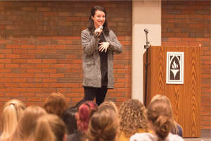 Hannah Brencher speaks to Providence College students about her organization, The World Needs More Love Letters.