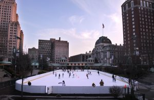 Locals enjoy the Alex and Ani Skating Rink in Downtown Providence