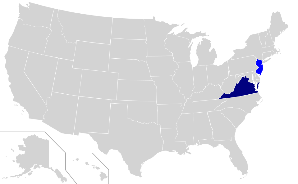 Map showing democratic wins in New Jersey and Virginia from the elections on November 7.