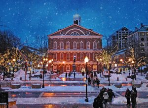 Faneuil Hall in Boston during the Christmas season