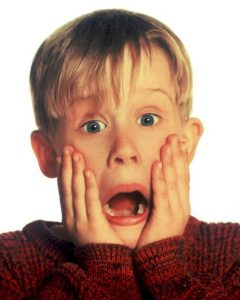 The iconic photo of Macaulay Culkin screaming from the movie Home Alone