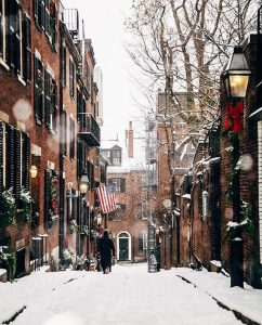 A snowfall at Beacon Hill in Boston