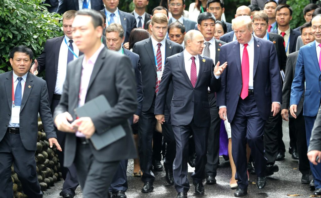 Donald Trump and Vladimir Putin attended the APEC  Summit in Da Nang, Vietnam on November 11.