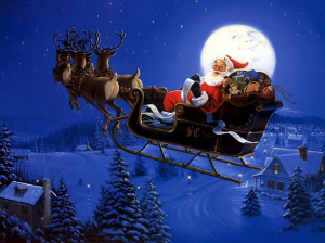 Santa Claus in his sleigh flying past the moon over a neighborhood