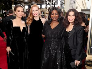 Natalie Portman, Jessica Chastain, Octavia Spencer, and America Ferrera wear black in support of the Time's Up initiative.