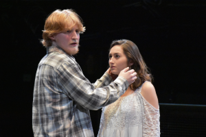 Timothy Brown '19 (Hamlet) and Jennifer Dorn '18 (Ophelia) rehearse a scene.