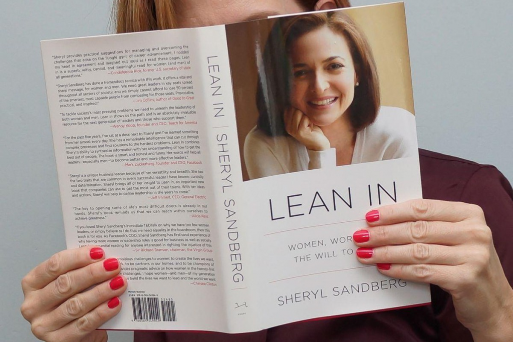 The front cover of Sheryl Sandberg's book, Lean In.