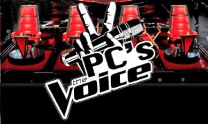 A graphic design promoting Providence College's The Voice competition