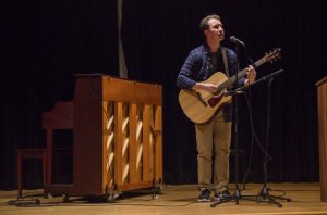 Nate Jakaitis, a sophomore Providence College student, performs on stage at PC's The Voice competition