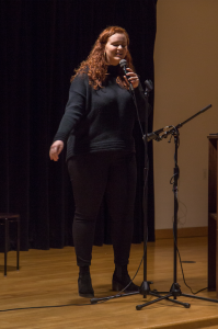 Molly Powers, a junior Providence College student, performs at PC's The Voice competition