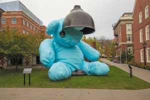 """The """"Untitled/Bear Lamp"""" art piece at Brown University"""