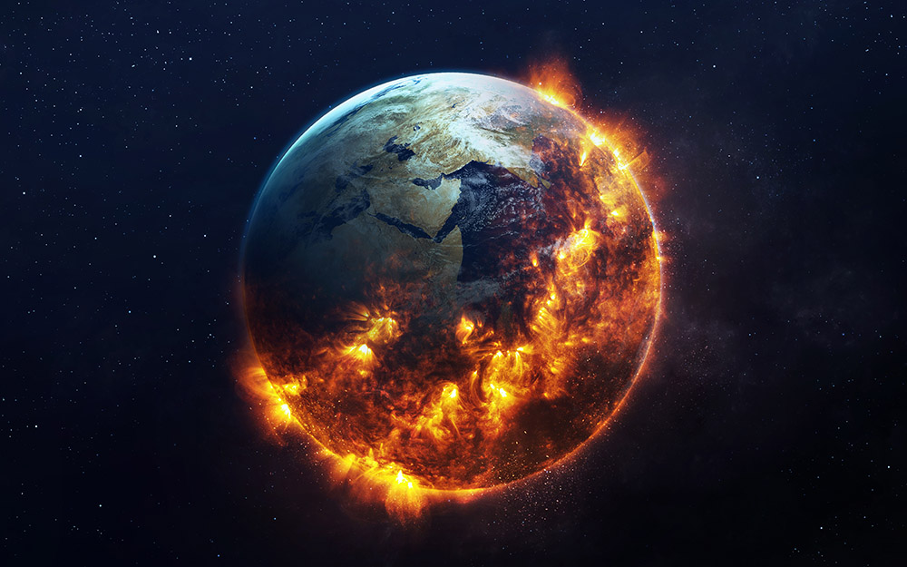 Earth consumed by fire