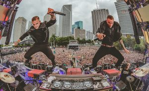 Galantis duo, Christian Karlsson and Linus Eklöw, preform at Ultra Music Festival in Miami, Florida.