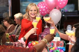 Leslie Knope from Parks and Recreation celebrating Galentine's Day.