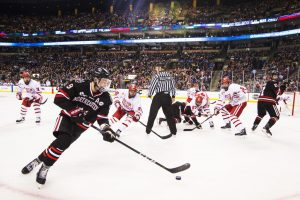 Northeastern battle Boston University in the Beanpot tournament at the Boston Garden