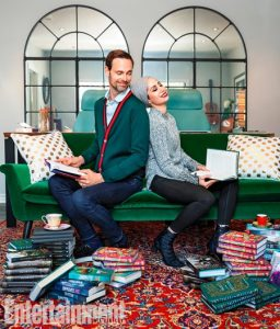 Authors and couple Ransom Riggs and Tahereh Mafi pose for a promotional shot