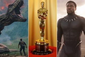 Three photos: far left, a still from Jurassic World, middle, an Oscar award, and right a still from Black Panther.
