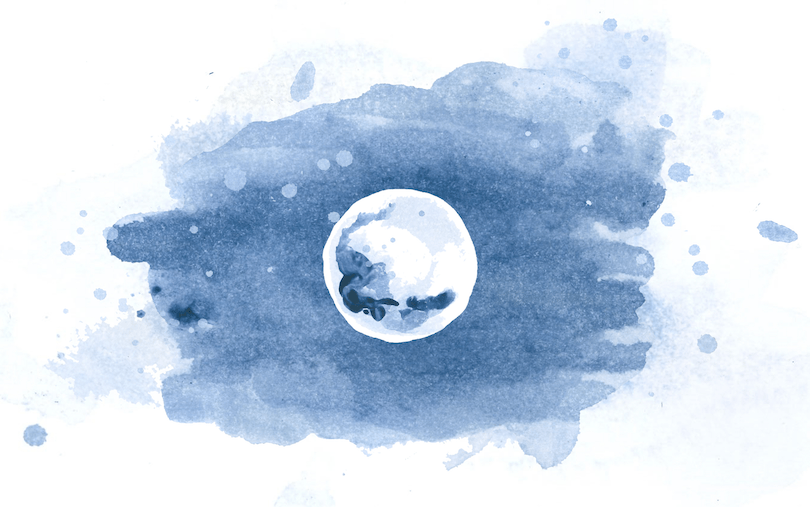 blue watercolor of a full moon