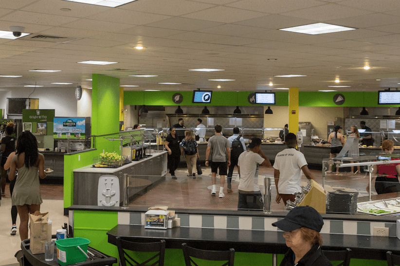 Students walking around in the dining hall.