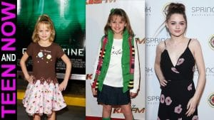 Three photos of actress Joey King ranging from child actress to now