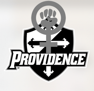 The Providence college logo with the symbol for feminism.